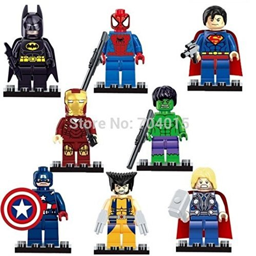 [The Avengers Marvel DC Super Heroes Series 8 Pcs Set Minifigures Building Toys New Kids Gift Compatible With] (Avengers Superhero)