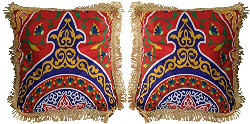 Egypt gift shops Pair of kayamia Ethnic Tribal Exotic Egyptian Pillows Covers (Arabian Party Decorations)