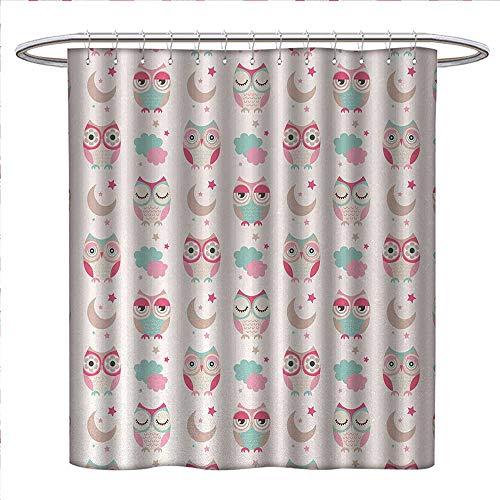 (Anniutwo Owls Shower Curtains Sets Bathroom Owls Stars Moon Patterns in Feminine Soft Colors Symmetric Design Artwork Fabric Bathroom Decor Set with Hooks W48 x L84 Almond Green Pink Tan)