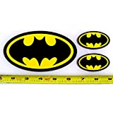 Batman Symbol - Set of 3 HQ 2 Color Yellow on Black Vinyl Sticker Decals!