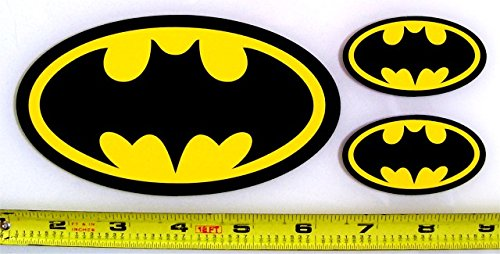 Batman Symbol Set Of 3 Hq 2 Color Yellow On Black Vinyl Import
