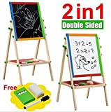 Large Adjustable Children Kids 2 In 1 Black White Wooden EaselDrawing Board