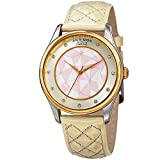 quilted dial watch - Akribos XXIV Women's Quartz Two-Tone Case with Genuine Diamond Hour Markers and Mother-of-Pearl Mosaic Dial on Cream Quilted Genuine Leather Strap Watch AK925WTG