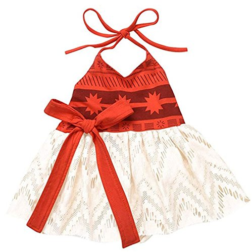 CHICTRY Toddler Girls Baby Mona Fancy Dress up Costume Princess Cotton Lace Birthday Party Outfits Orange 12-18 Months ()
