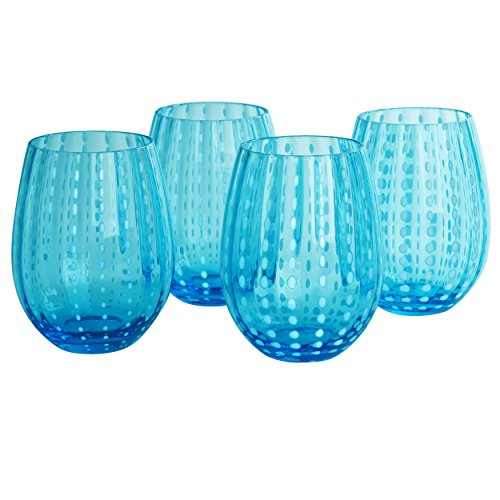 Artland Cambria Stemless Tumbler 18 oz (Set of 4), Turquoise (Drinking Turquoise Glasses)