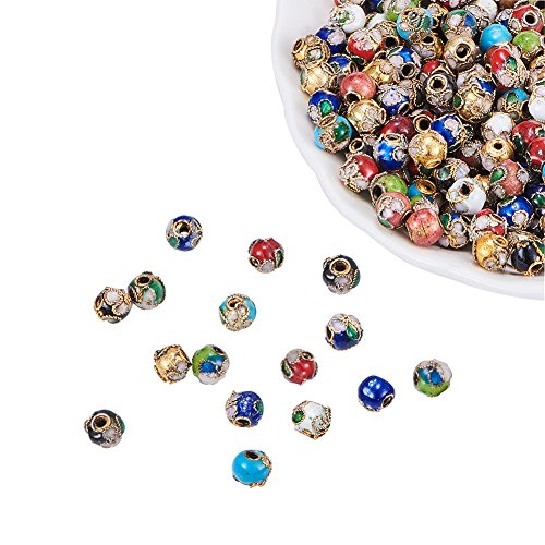 - NBEADS 200PCS Random Mixed Color Handmade Vintage Beads, Filigree Cloisonne Round Loose Charm Beads for Bracelet Jewelry Making Findings