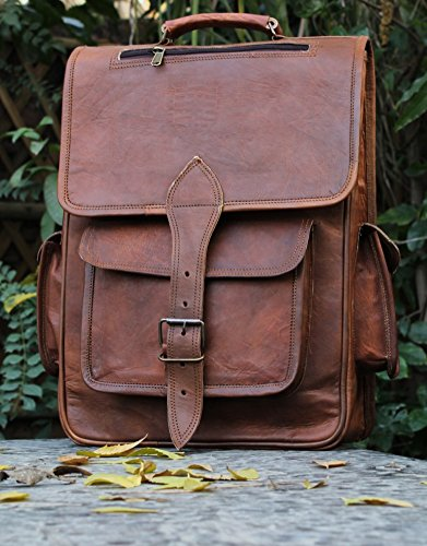HLC LEATHER HANDMADE VINTAGE STYLE BACKPACK/ COLLAGE/ - Priority Fedex Number Tracking