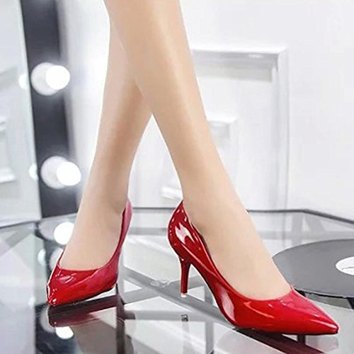 Transer Patent Leather Elegant Ladies Nude Shallow Mouth High Heel Office Work Shoes - Women Wedding Court Shoes Red fdfQox4