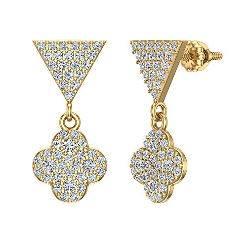 - 14K Yellow Gold Diamond Earrings Clover Cluster Dangle Drop Earrings Triangle Top 0.90 carat total weight (I color, I1 clarity)