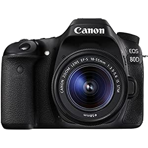 Canon Digital SLR Camera Body [EOS 80D] with EF-S 18-55mm f/3.5-5.6 Image Stabilization STM Lens with 24.2 Megapixel (APS-C) CMOS Sensor and Dual Pixel CMOS AF  – Black