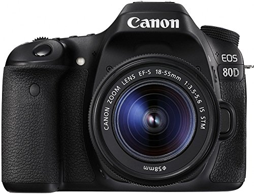 Canon Digital SLR Camera Body [EOS 80D] with EF-S 18-55mm f/3.5-5.6 Image Stabilization STM Lens with 24.2 Megapixel (APS-C) CMOS Sensor and Dual Pixel CMOS AF  - Black (Canon Eos 7d Kit Best Price)