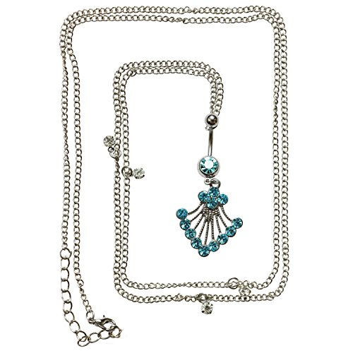 - Oasis Plus 14G Blue Crystal Shell Belly Button Ring Dance Waist Chain Belt Body Piercing Jewelry