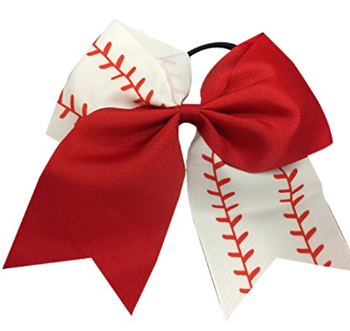 "Infinity Collection Softball Hair Bows- 6.5"" Softball Cheer Bows- Softball Hair Accessories- Perfect Softball Player Gift"