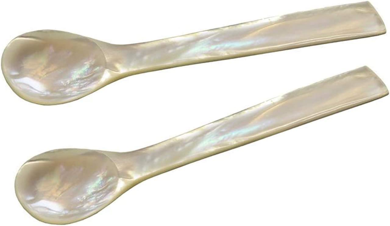 Sturdy Box 4.7 in Length Approx Made of Real River Mother-of-Pearl Set of 2 Rounded Edges Edzard Egg Spoons Handmade MOP incl