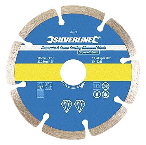 Silverline 633624 Lame diamantée à tronçonner le béton et la pierre 125 x 22,2 mm
