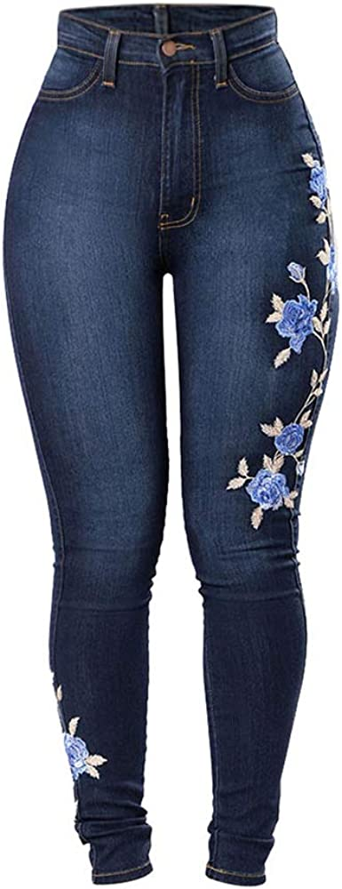 BAIQUAN Jeans Embroidered...