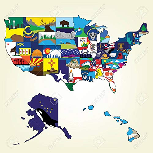 (Laminated Map - USA Map Famous Landmark Royalty Free Cliparts Vectors Brilliant Us Landmarks - 24 x)