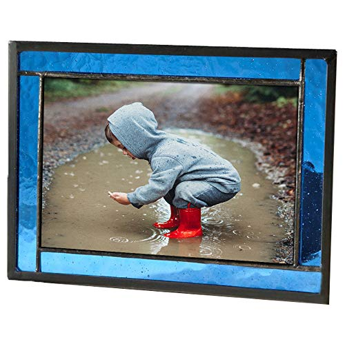 - J Devlin Colored Easel Back Series - Stained Glass 4x6 Picture Frame Displays Horizontally or Vertically (Blue)