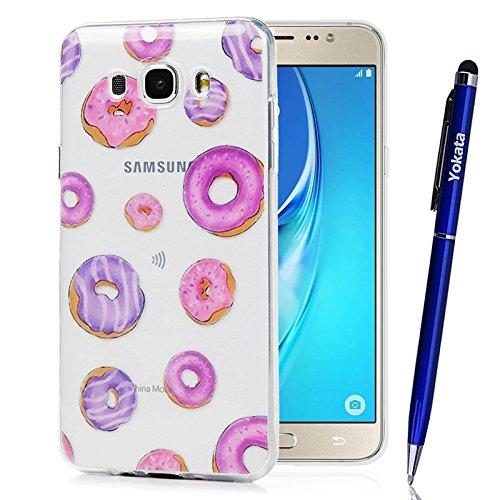Funda para Samsung Galaxy J7 2016, Yokata Silicona TPU Suave Ultra Delgado Carcasa Fantasía Pintado Divertido Caprichoso Kawaii Adorable Diseño Transparente Flexible Trasera Bumper Resistente a los Ar Donuts