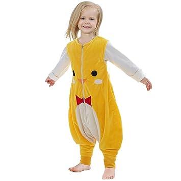 ZEEUAPI - Saco de dormir con piernas de franela para bebés niños infantíl Ropa para dormir (M (3-5 años), Amarillo-gato): Amazon.es: Hogar