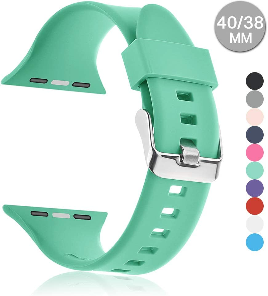 Compatible with Apple Watch Sports Band Series 4 (44mm, 40mm) Series 3 Series 2 Series 1 (42mm, 38mm) | Soft Silicone Replacement Band (Mint Green, 44mm/42mm)