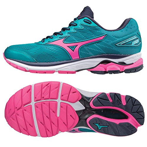 Mizuno Wave Rider 20 Ladies Running Shoes, Color- Blue/Pink, US Shoe Size- 6.5 US / 4 UK