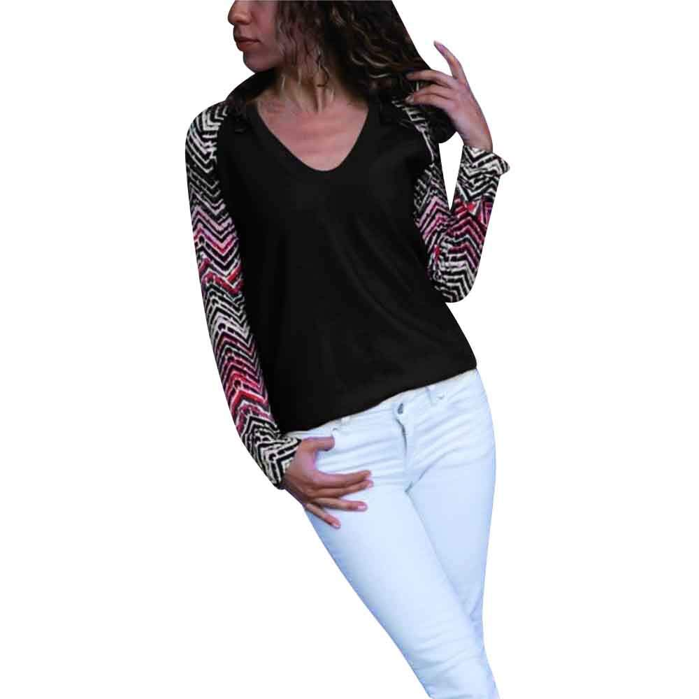 Blouse For Women-Clearance Sale, Farjing Casual V-neck Geometric Print Long Sleeve Blouse Color Block Tops(XL,Black )