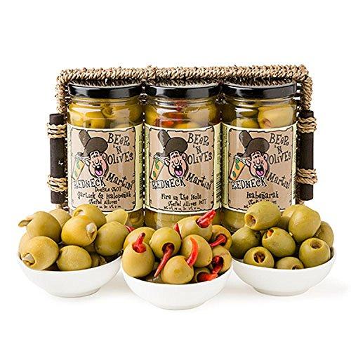 (Set of 3 Gourmet Spicy Beer 'n Olives Martini Cocktail Olive Sampler Gift Basket)