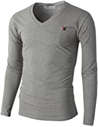 H2H Mens Basic T-Shirts with V-Neck Long Sleeve