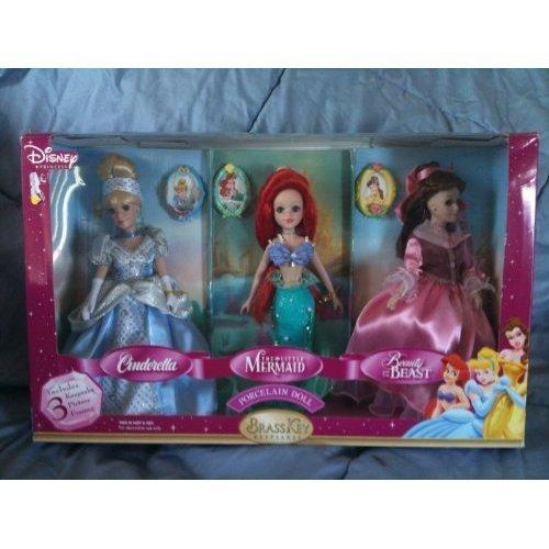 Disney Porcelain Dolls Brass Key Cinderella Little Mermaid & Beauty and the Beast