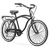 sixthreezero Around The Block Men's 7-Speed Beach Cruiser Bicycle, 24' Wheels, Matte Black, 15'/One Size