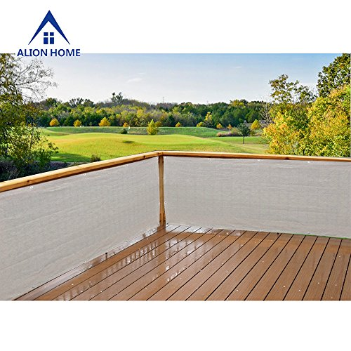 Alion Home Elegant Windscreen Privacy Screen For Deck, Pool, Railing, Backyard Deck, Patio, Fence, Porch - Smoke (3' x 8') by Alion Home