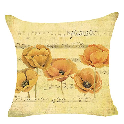 Andreannie Retro Shabby Sheet Music Beautiful Musical Notes Yellow Poppy Flowers Cotton Linen Personalized Throw Pillow Case Cushion Cover New Home Office Decorative Square 18 X 18 Inches