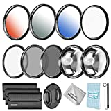 Neewer 58MM Lens Filter and Accessory Kit for Canon Rebel T5i T4i T3i T2i T1i T3 XSi XS DSLRs, Includes: UV CPL ND4 Filter Macro Close-up (+4 +10) Filter Graduated Color Filter 6 Points Star Filter