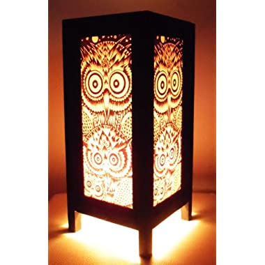Thai Vintage Handmade Asian Oriental Night Owl Bedside Table Light or Floor Wood Paper Lamp Shades Home Bedroom Garden Decor Modern Design from Thailand