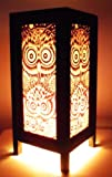 Thai Vintage Handmade Asian Oriental Night Owl Bedside Table Light or Floor Wood Paper Lamp Shades Home Bedroom Garden Decor Modern Design from Thailand