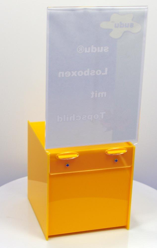 gelbe Losbox 20 cm mit Schlo/ß und Topschild A4
