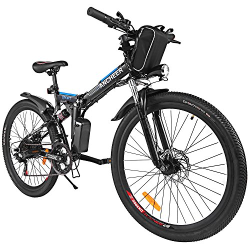 26' Adult Mountain Bike (Folding 26'' Electric Mountain Bike, Lithium-Ion Battery (36V 250W), Premium Full Suspension and Shimano Gear (black blue))