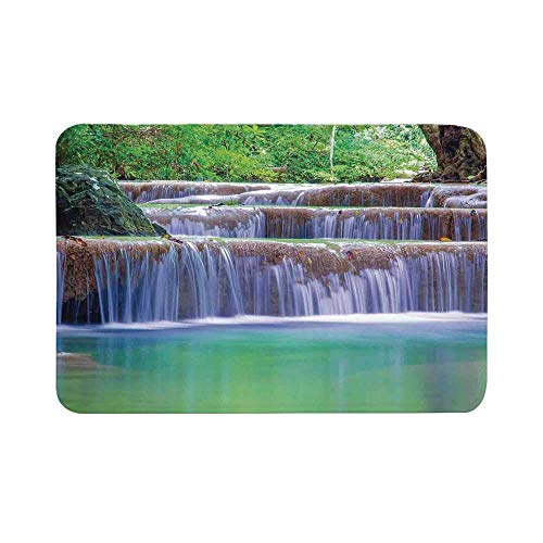 C COABALLA Waterfall Durable Door Mat,Fairy Step Cascade Waterfalls Pours Into Crystal Clear Lake Exotic Tropical for Living Room,17.7