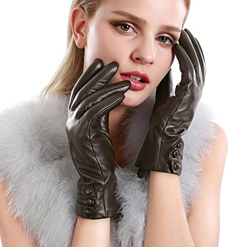 Women Leather Gloves Touchscreen Texting Evening Real Lambskin Warm Driving Cashmere Lining Gloves (Ladies Brown Leather Gloves)