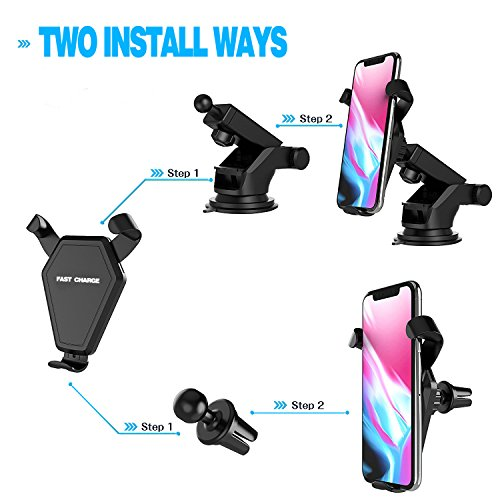 Fast Wireless Charger,MEIWU Car Mount Air Vent Phone Holder Cradle for Samsung Galaxy Note 7/6/S8/S8 plus/S7/S6 Edge plus,QI Wireless Standard Charge for iPhone 8/8 plus/X etc. by MEIWU (Image #1)