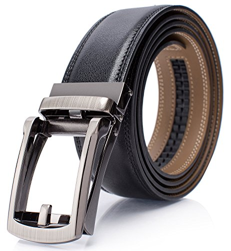 - Men Genuine Leather Belt Holeless Adjustable Buckle Belts with Gift Box