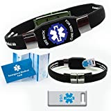 Waterproof ELITE USB black silicone medical alert ID bracelet with 2 GB USB (Black)