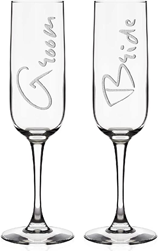 Set of 2 Champagne Toasting Wedding Bride Groom Flutes Reception Glasses