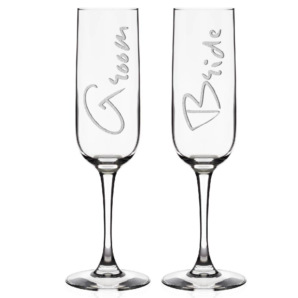 Personalized Champagne Flutes for Bride and Groom (Anniversary) Kaira Trading Inc.