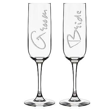 Amazon Set Of 2 Wedding Champagne Flutes For Bride Groom