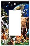 Art Plates - Single Gang Rocker OVERSIZE Switch Plate/OVER SIZE Wall Plate - Animal Kingdom