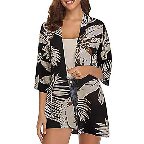 Women Fashion Floral Print Kimono Smock Flare Sleeve Beach Cover Up Chiffon Summer Shirt Cardigan