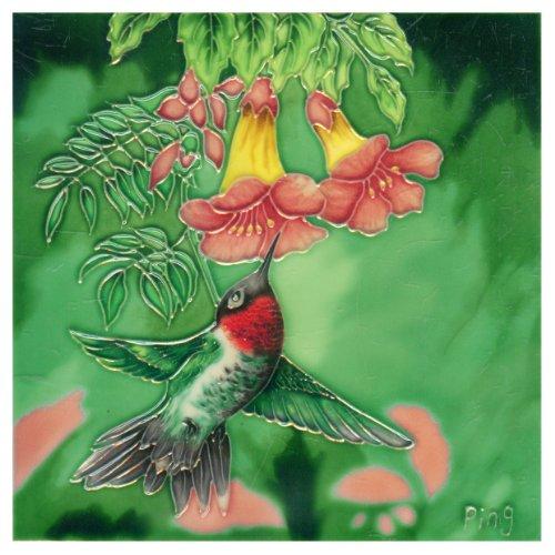 Continental Art Center BD 2258 Hummingbird with Red Fuchsia Flowers Art Tile, 8 by (Hummingbird Tile)