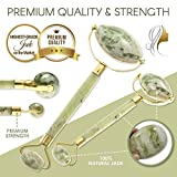 Jade Roller    Highest Quality Jade    100% All-Natural    Healing Slimming and Wrinkle Treatment for Face Neck Body and Eyes    Highly Potent & Nutrient Packed    Clears Toxins & Reduces Puffiness